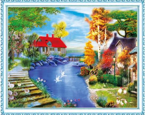 Алмазная Мозаика 40x50 Уютные домики у реки