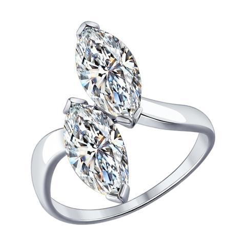 94012081 - Кольцо  из серебра с фианитами капельками