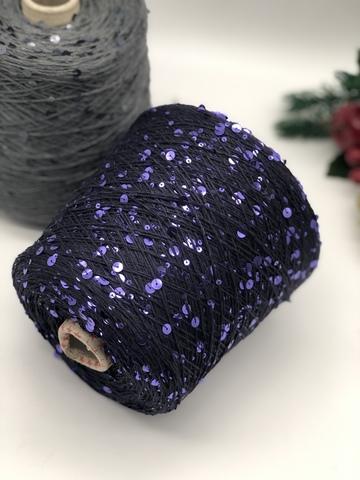 Кашемир 70% с шелком 30%  и пайетками  LORO PIANA Royal 300 фиолетовый