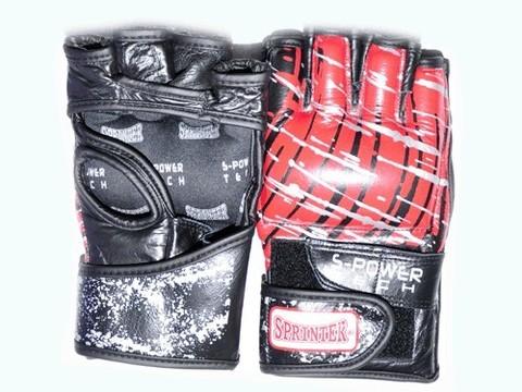 Перчатки для рукопашного боя. Материал кожа.  Размер М. Цвет чёрно-красный