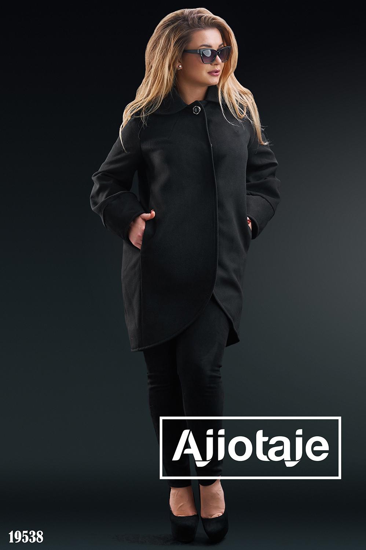 Пальто-кокон на заклепках черного цвета