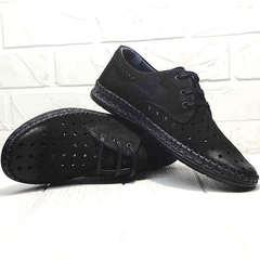 Кожаные туфли мокасины с перфорацией кэжуал стиль Luciano Bellini 91754-S-315 All Black.