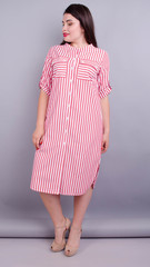 Любава. Платье рубашка больших размеров. Красная полоса.