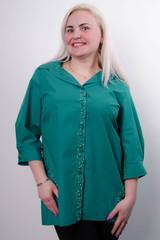 Дакота. Оригинальная женская рубашка больших размеров. Бирюза.