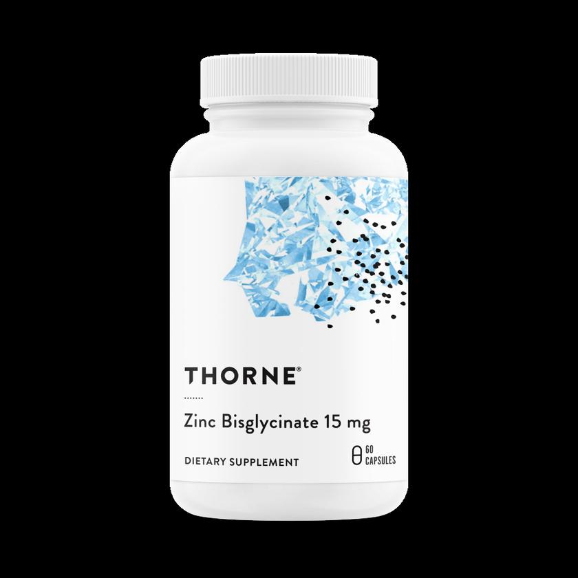 Бисглицинат цинка 15 мг, Zinc Bisglycinate 15 mg, Thorne Research, (60 капсул)