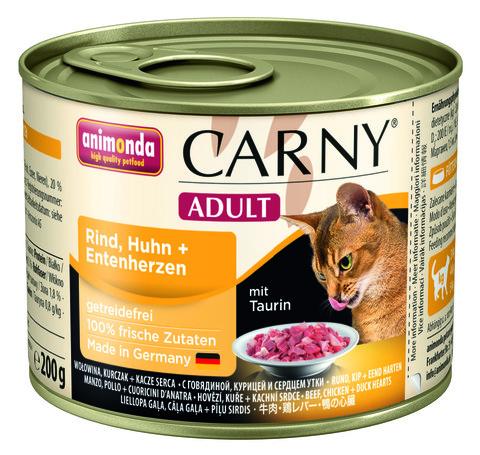 Консервы Animonda Carny Adult с говядиной курицей и сердцем утки для взрослых кошек