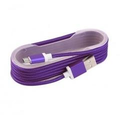 Кабель microUSB тканевый, катушка 1.2m., violet