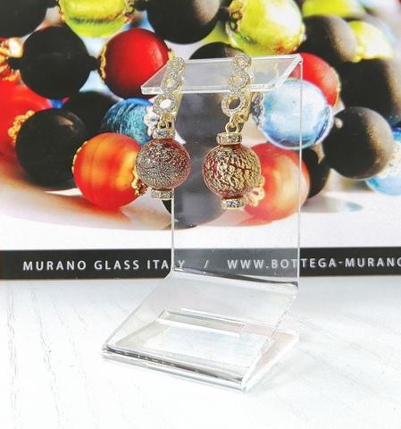 Серьги из муранского стекла со стразами Franchesca Ca'D'oro Medio Rubino 456O