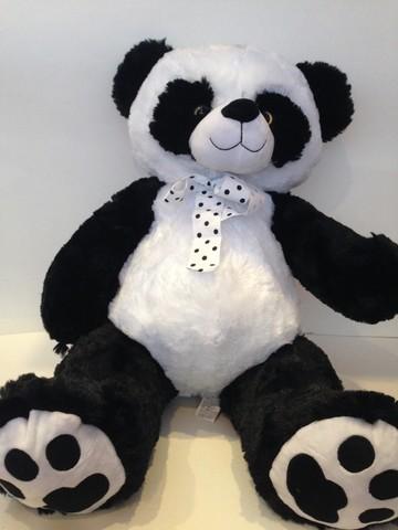Панда с бантом в горошек, 50/65 см. (сидя/стоя), 20253-50