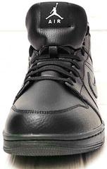 Мужские кожаные кеды кроссовки на зиму Nike Air Jordan 1 Retro High Winter BV3802-945 All Black