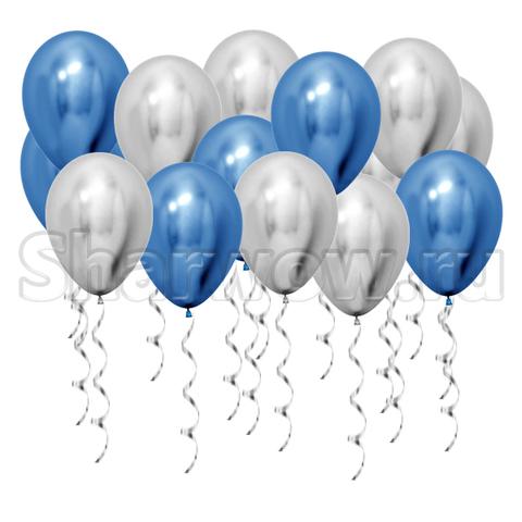 Воздушные шары под потолок Серебро хром и синий