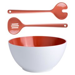 Set of melamine salad bowl with cutlery, Summer collection, Coral