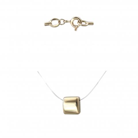 01Л031846  -Минималистическая подвеска из желтого золота на леске-невидимке с золотыми замочками