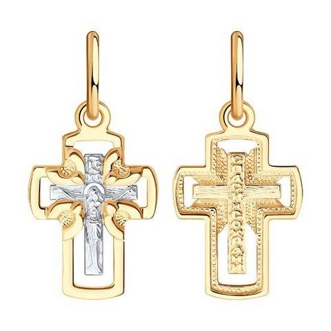 121422  - Подвеска-крестик из двухцветного золота