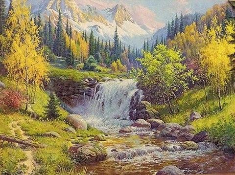 Алмазная Мозаика 40х50 Маленький водопад в горах (Арт. GA71822 )
