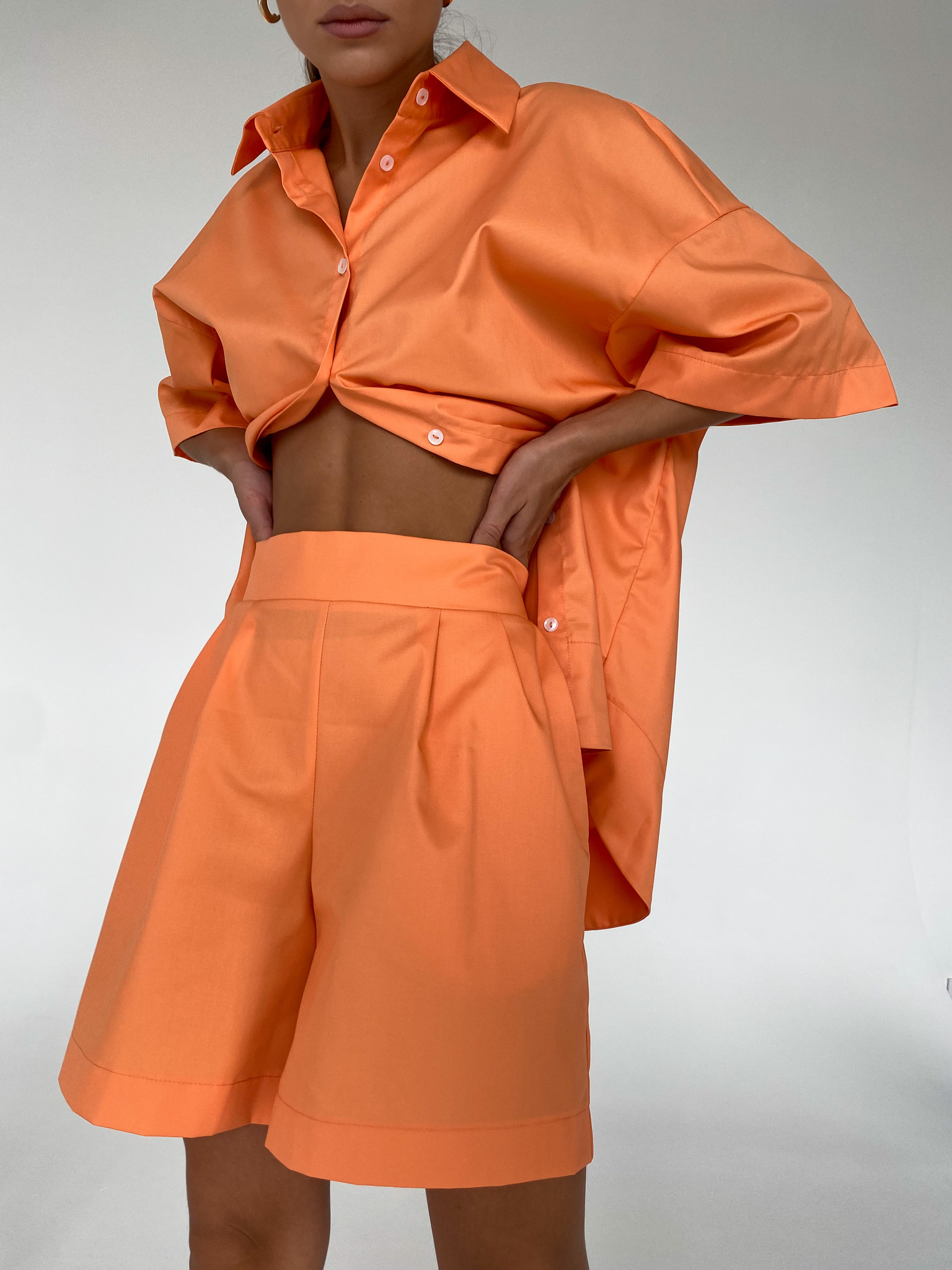 Шорты из хлопка на резинке (оранжевый)