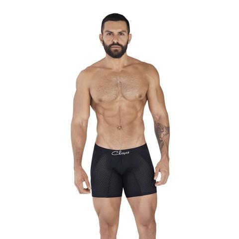 Мужские трусы боксеры удлиненные черные в сетку Clever TIME LONG BOXER 036611