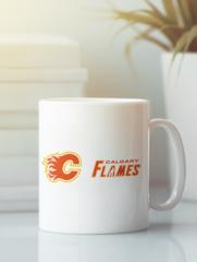 Кружка с рисунком НХЛ Калгари Флэймз (NHL Calgary Flames) белая 009