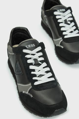 Мужские черные кожаные кроссовки Guess