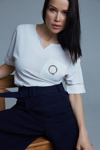 Костюм с широкими синими брюками Nadya