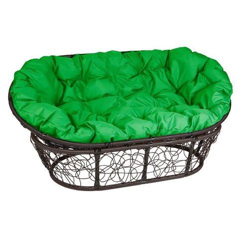 Кресло Mamasan, цвет плетения коричневый, цвет подушки зеленый