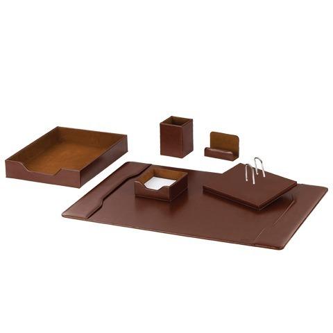 Набор GALANT настольный из экокожи, 6 предметов (под глянцевую кожу, коричневый)
