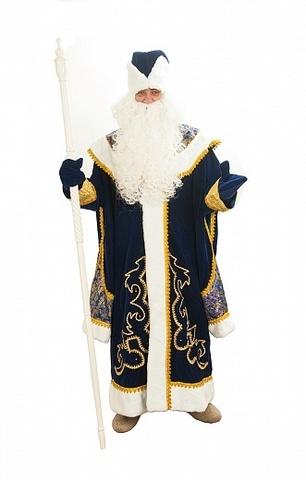 Костюм Деда Мороза из синего бархата и парчи с пелериной