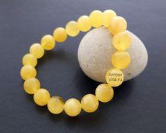 браслет из натурального янтаря шар матовый 11 мм