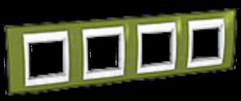 Рамка на 4 поста. Цвет Фисташковый/Бежевый. Schneider electric Unica Хамелеон. MGU6.008.566
