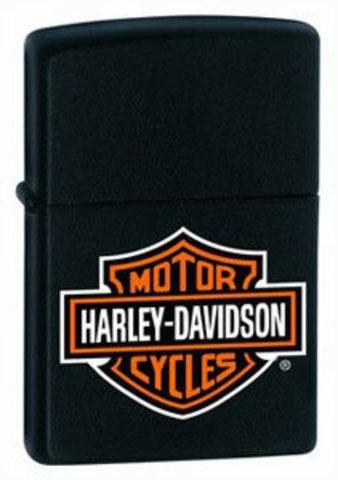 Зажигалка Zippo Harley-Davidson, с покрытием Black Matte, латунь/сталь, чёрная, матовая