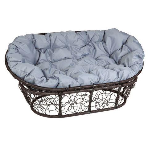 Кресло Mamasan, цвет плетения коричневый, цвет подушки серый