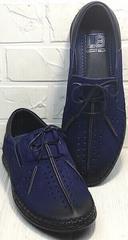 Перфорированные туфли мокасины синие мужские casual Luciano Bellini 91268-S-321 Black Blue.