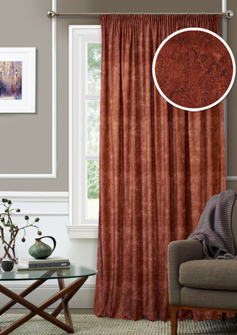 Готовая штора с подхватом Бархат бордово-коричневый