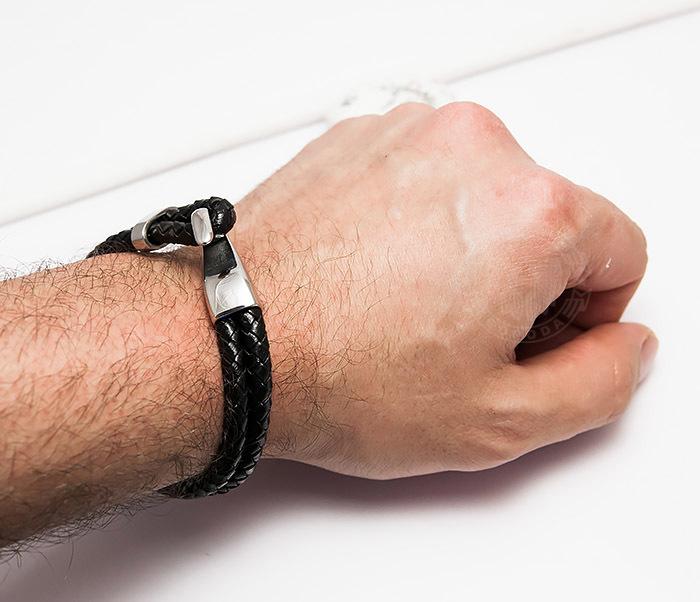 BM452 Мужской браслет из кожаных шнуров с застежкой крюком (21,5 см) фото 06