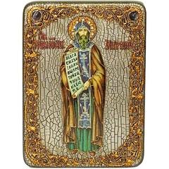 Инкрустированная икона Святой равноапостольный Кирилл Философ 29х21см на натуральном дереве, в подарочной коробке