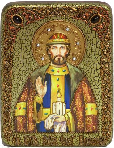 Инкрустированная Икона Святой благоверный князь Олег Брянский 20х15см на натуральном дереве, в подарочной коробке