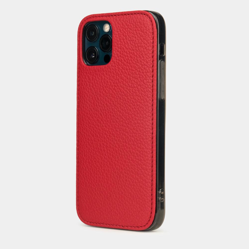 Чехол-накладка для iPhone 12 Pro Max из натуральной кожи теленка, красного цвета