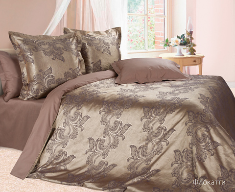 Жаккардовое постельное бельё 1,5 спальное, Флокатти
