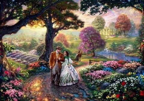 Алмазная Мозаика 40x50 Прогулка пары влюбленных по парку