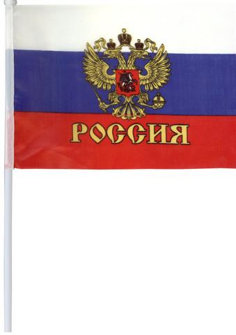 Флаг Россия с гербом 14*20 см