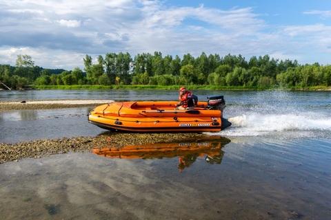Надувная ПВХ-лодка Солар - 470 Strela Jet Tunnel с фальшбортом (оранжевый)