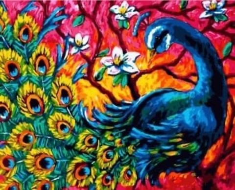 Алмазная Мозаика 40x50 Красивый павлин в цветах (арт. SGA2912 )