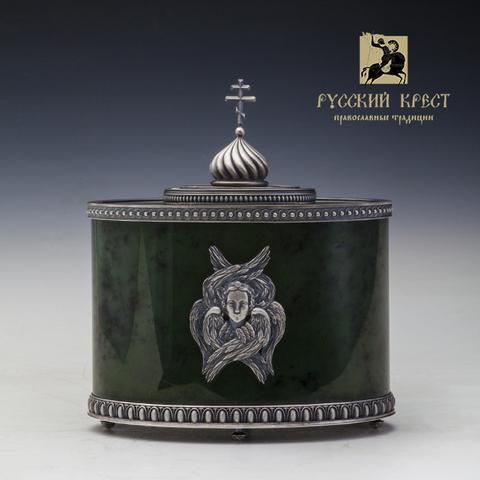 Ковчежек для православных мощей. Нефрит, серебро.