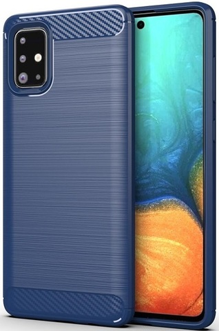 Чехол для Samsung Galaxy A71 цвет Blue (синий), серия Carbon от Caseport