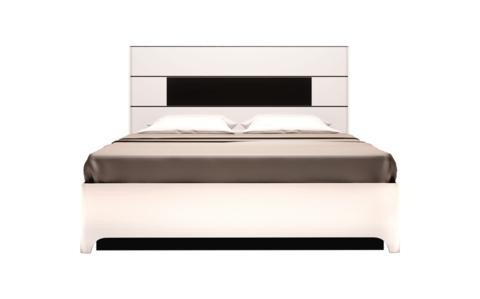 Кровать двойная 160х200 с подъемным механизмом Танго 5 Ижмебель белый/черный матовый