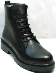 Демисезонные женские ботинки на шнурках Misss Roy 252-01 Black Leather.