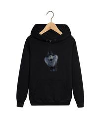 Толстовка черная 0010 с капюшоном (худи, кенгуру) и принтом Волк (Wolf)