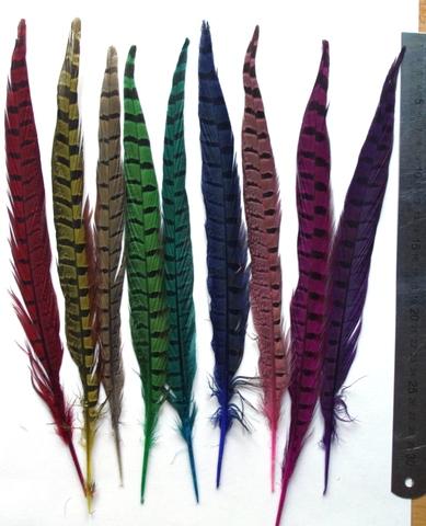 Перо фазана ,  длина ок. 30 см. (выбрать цвет)