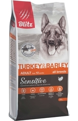 Корм для взрослых собак, Blitz Adult Turkey & Barley All Breeds, с индейкой и ячменем