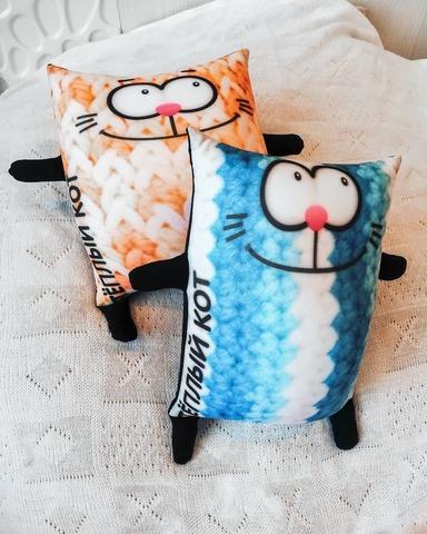 Подушка-игрушка антистресс Gekoko «Теплый кот», голубой 3